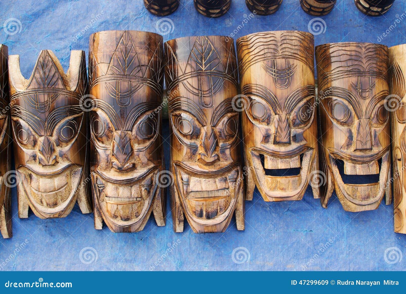 Wooden Masks Indian Handicrafts Fair At Kolkata Editorial Stock