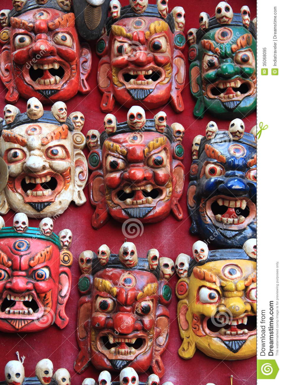 Wooden Masks For Sale In Nepal  Stock Image - Image of grey