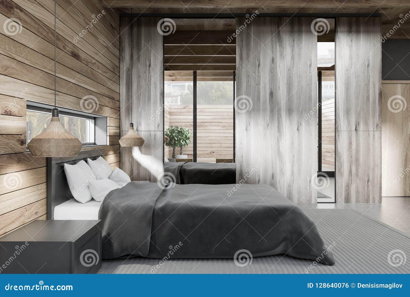 Wooden Master Bedroom Interior Side View Stock Illustration