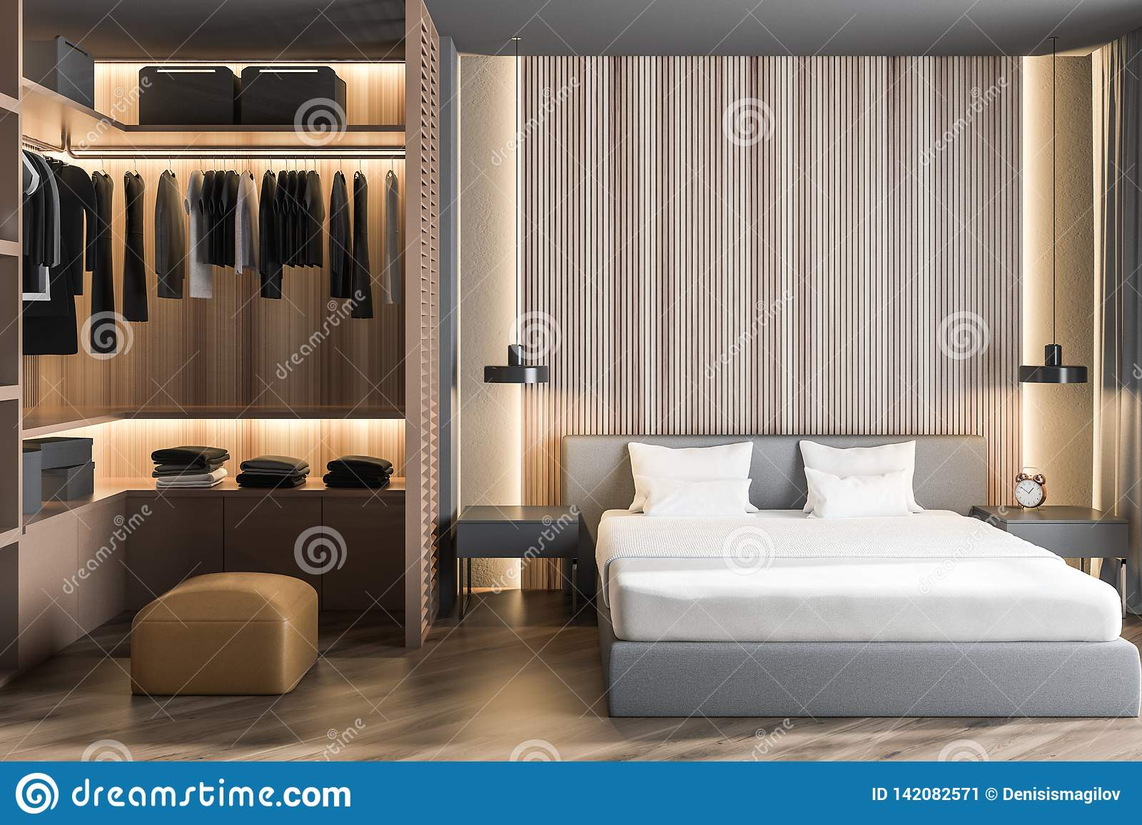 Wooden Master Bedroom Interior With Wardrobe Stock Illustration Illustration Of Estate Contemporary 142082571