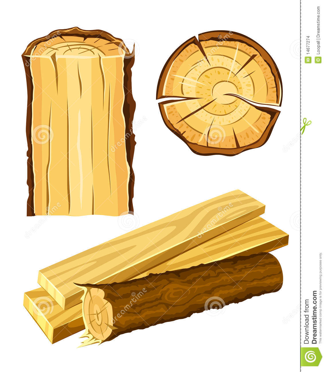 Wooden material wood and board stock illustration image