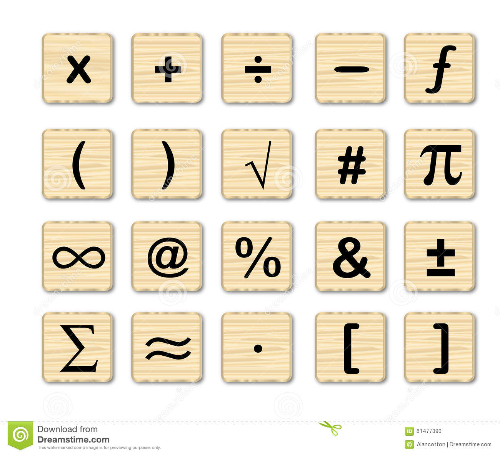 Wooden Math Symbols Stock Illustration Illustration Of Board 61477390