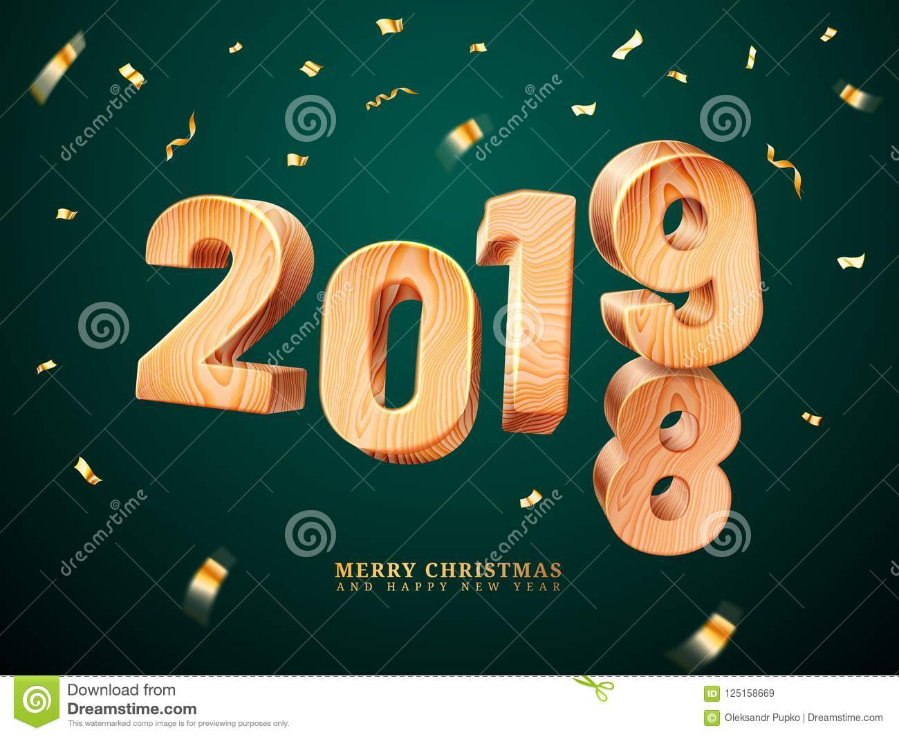 wooden 2019 for merry christmas with falling confetti and happy new year greetings postcard for xmas eve or holiday gift family present