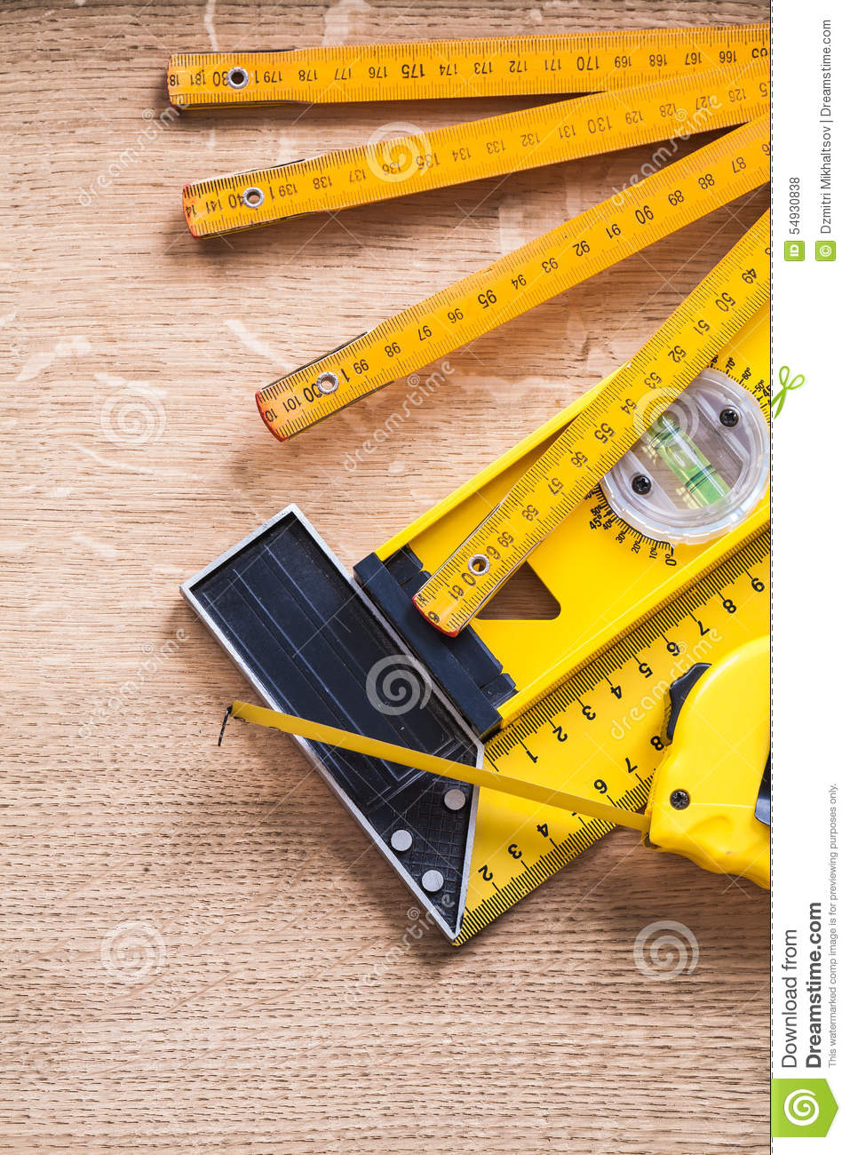 Wandplank 1 Meter.Wooden Meter Measuring Tape Construction Level And Stock Photo