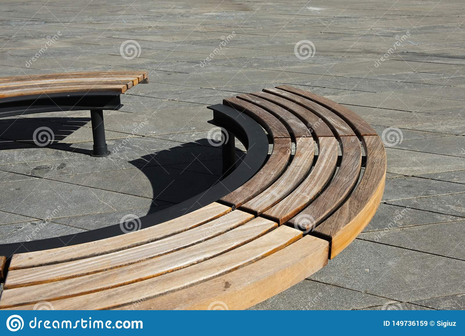 Wondrous Wooden Modern Design Round Circular Park Bench Stock Image Cjindustries Chair Design For Home Cjindustriesco