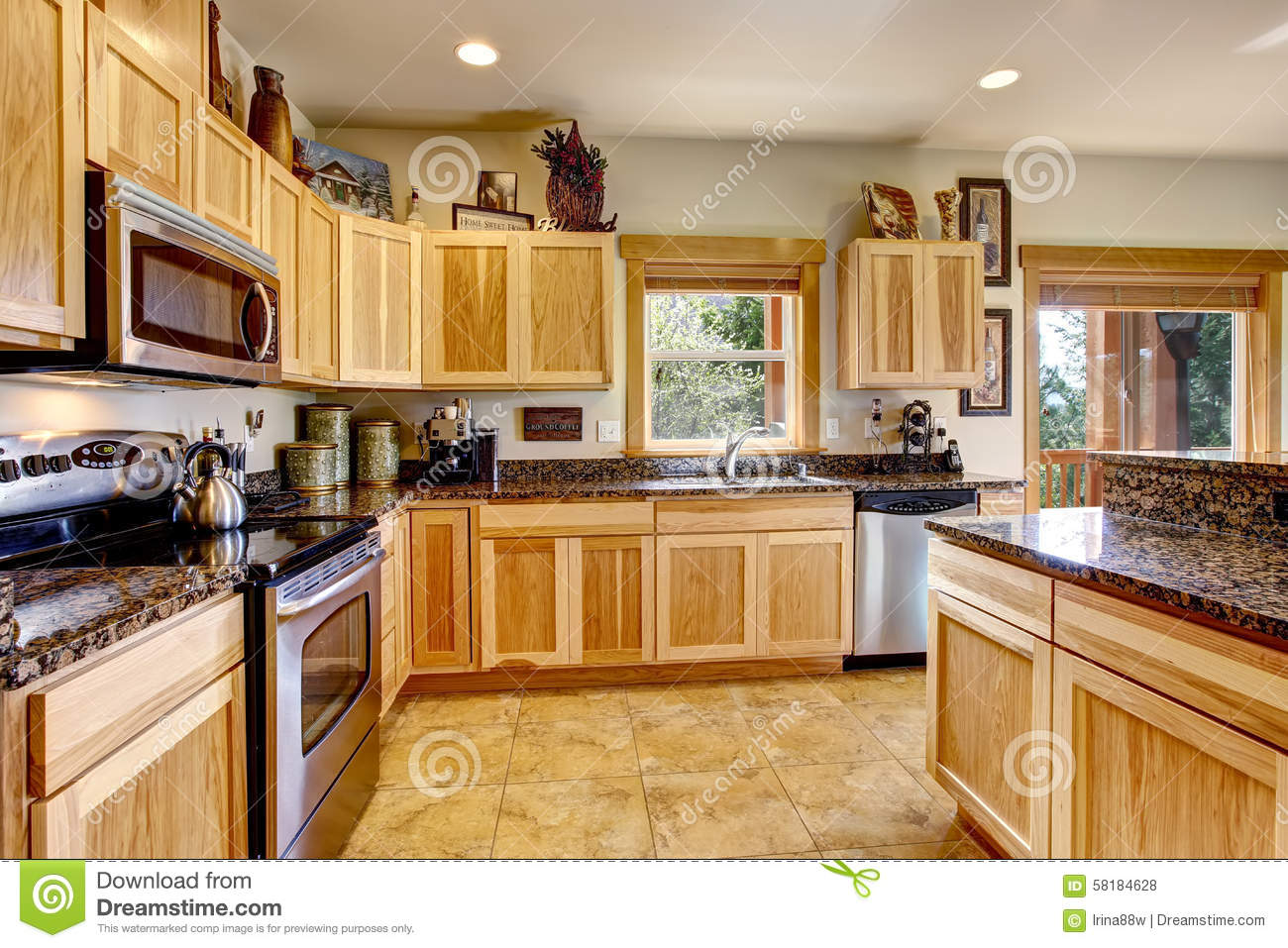 Wooden Mountain Home Kitchen With Golden Tile Floor Stock
