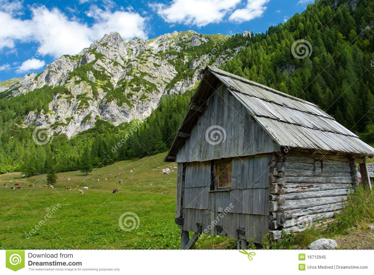 wooden hut near mountain - photo #8