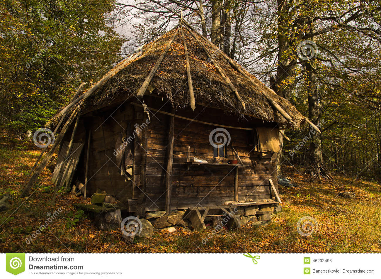 wooden hut near mountain - photo #27