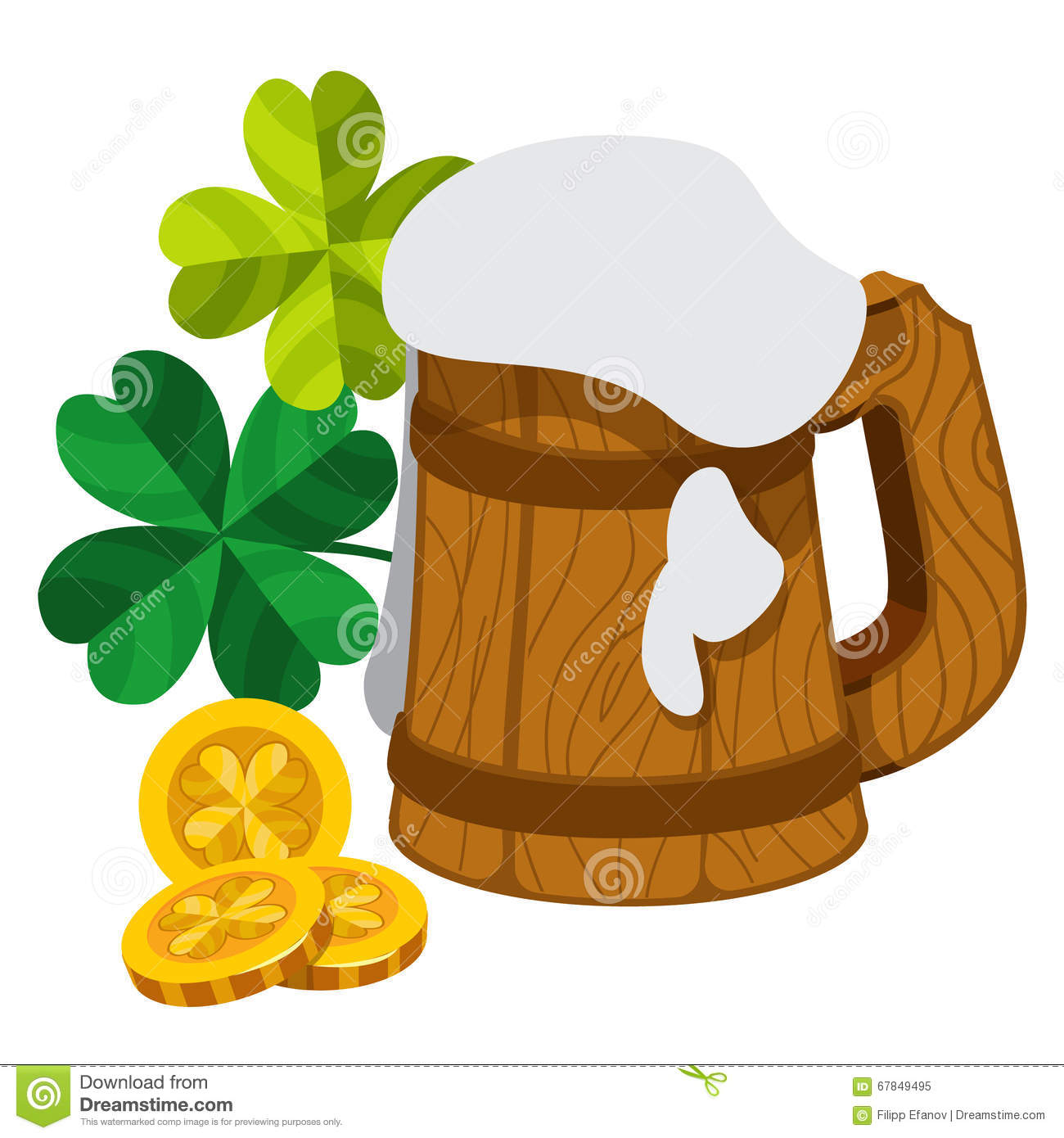 wooden mug of beer foam three gold coins with four leaf clover
