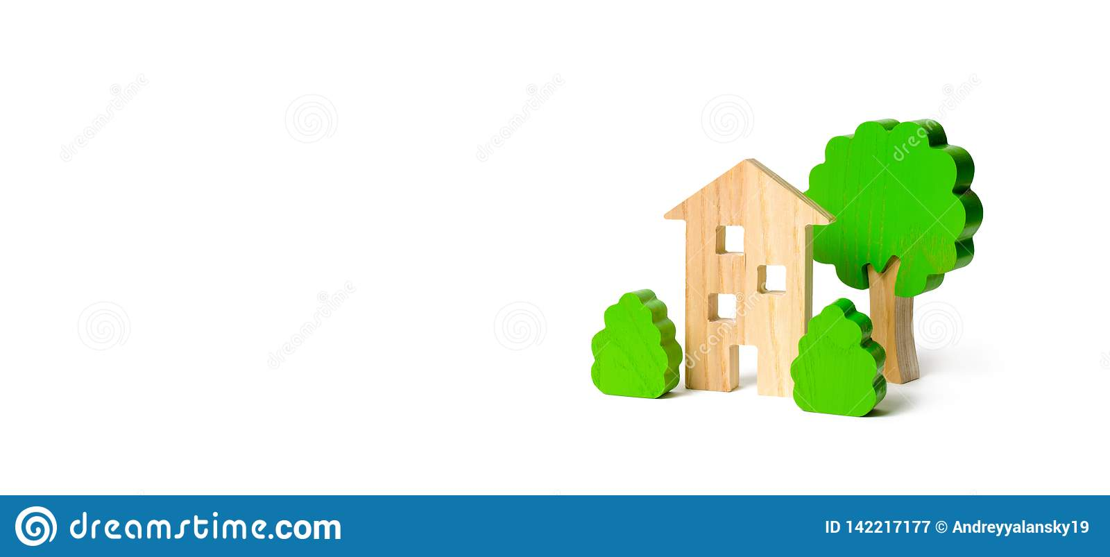 Wooden multi-storey building surrounded by bushes and trees on an isolated background. Acquisition of affordable housing