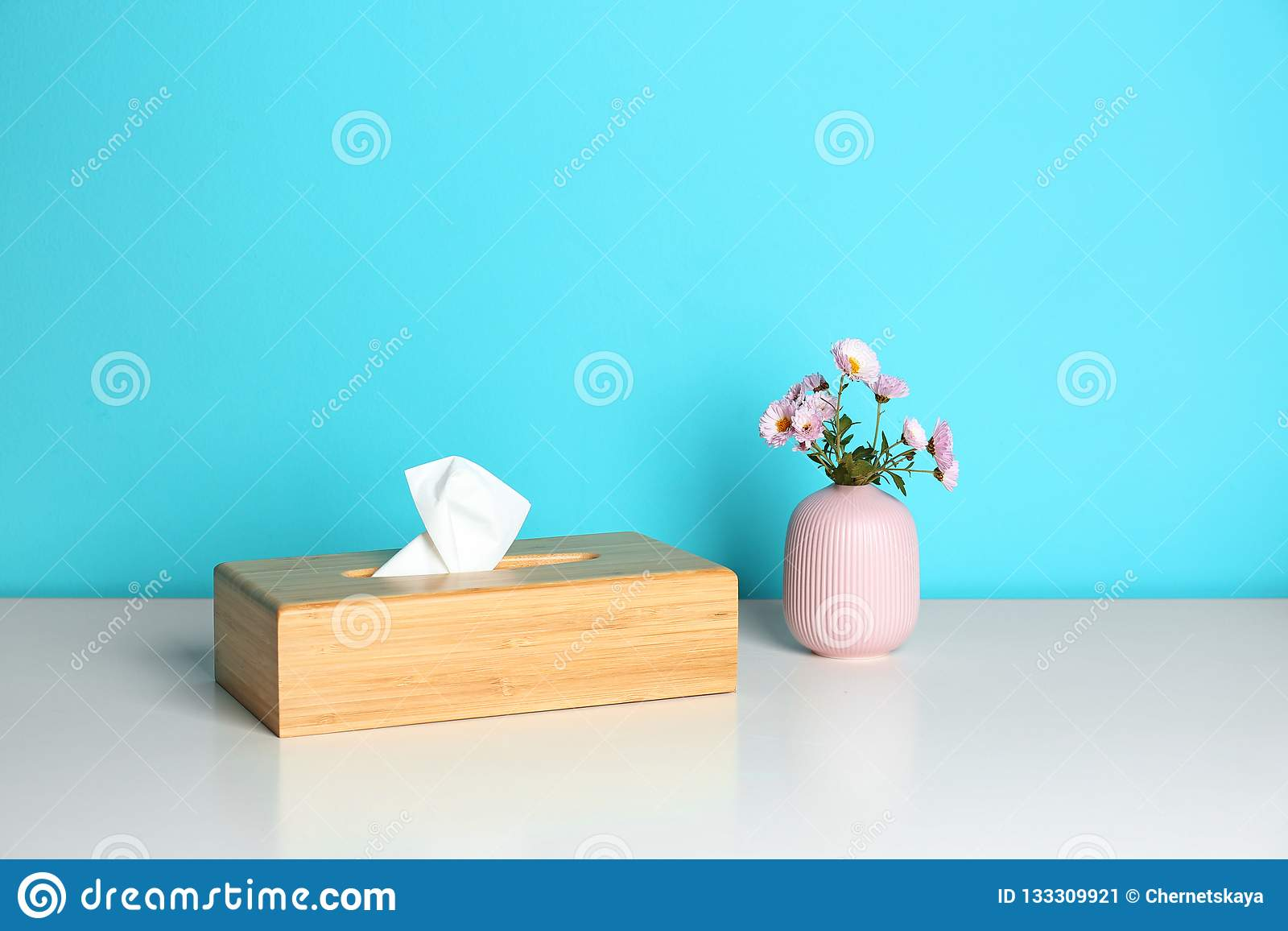 Wooden Napkin Holder With Paper Serviettes And Flowers In Small Vase Stock Image Image Of Dinner Napkins 133309921
