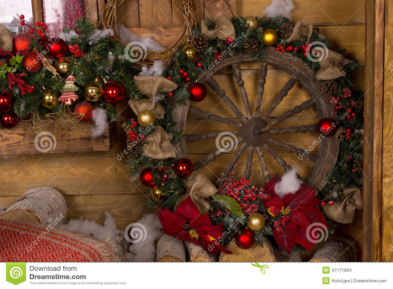 Wooden Nautical Ship Wheel Christmas Wreath Stock Photo ...