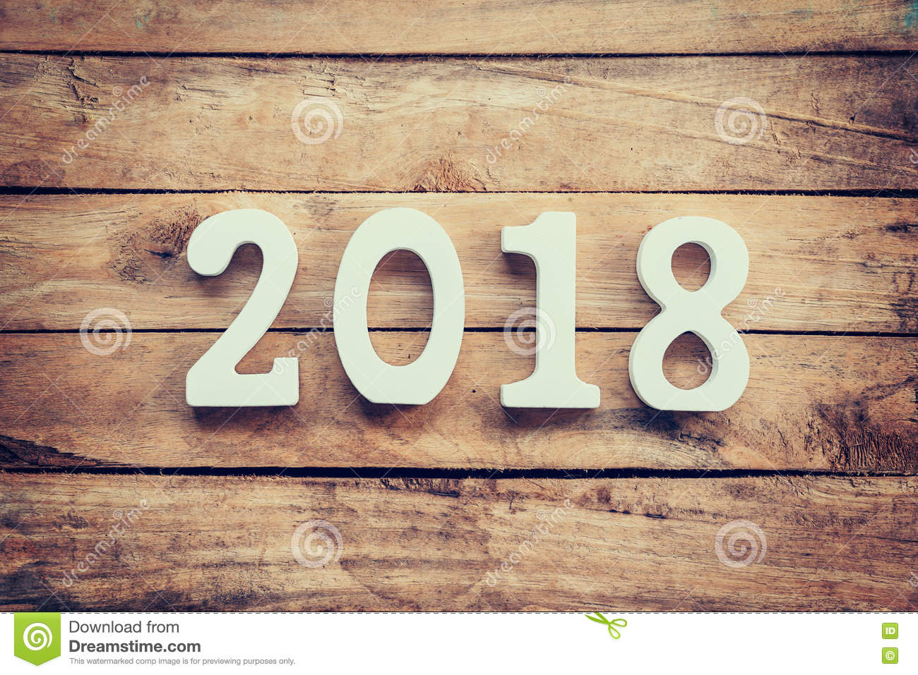 Wooden numbers forming the number 2018, For the new year 2018 on