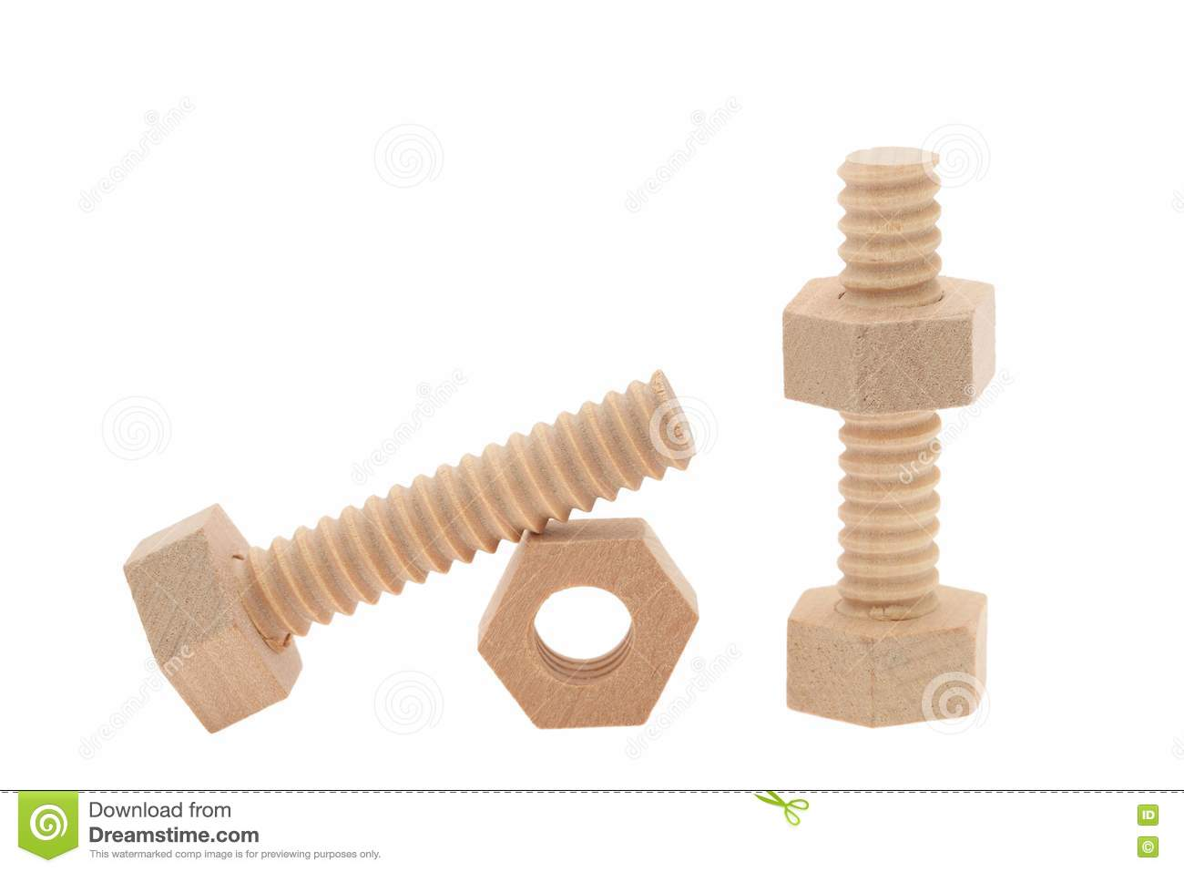 Wooden Nuts And Bolts Royalty Free Stock Images - Image: 24975009