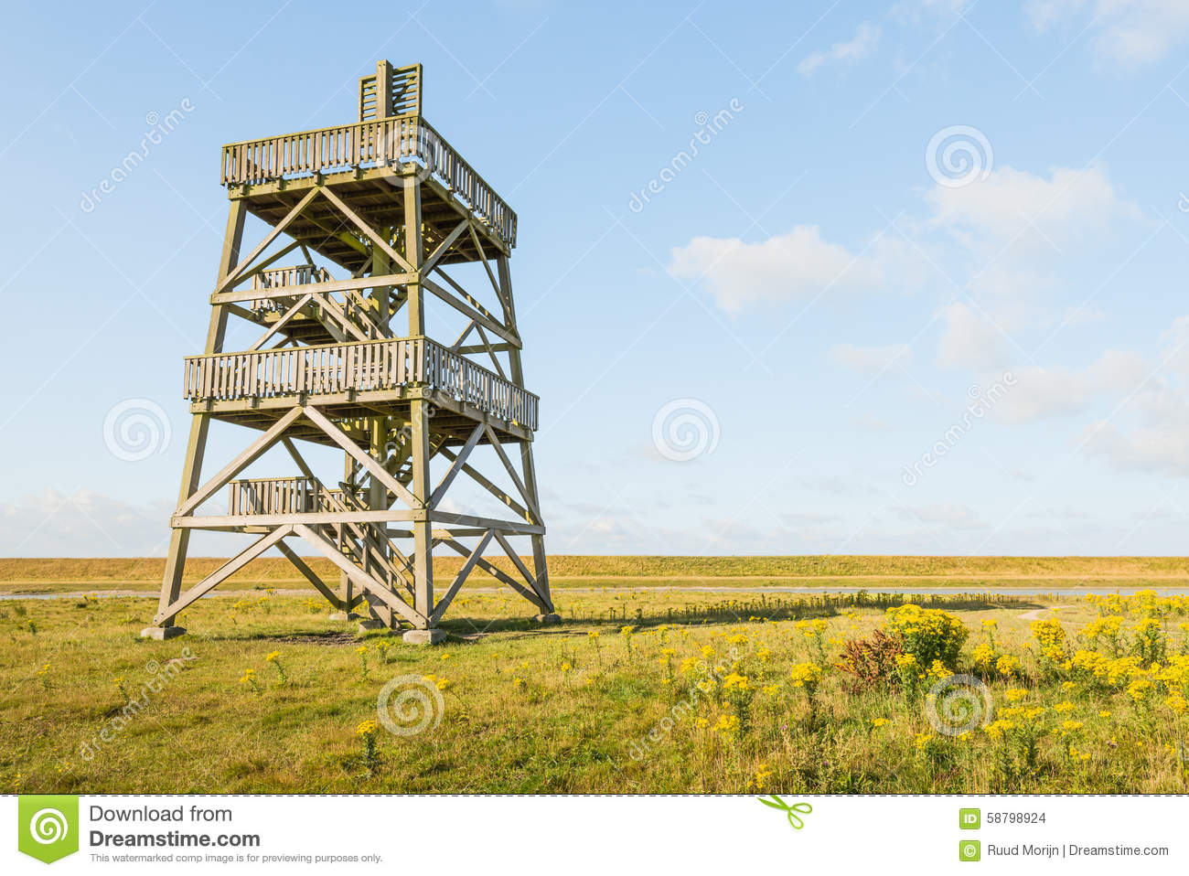 Wooden Observation Tower From Close Stock Photo Image