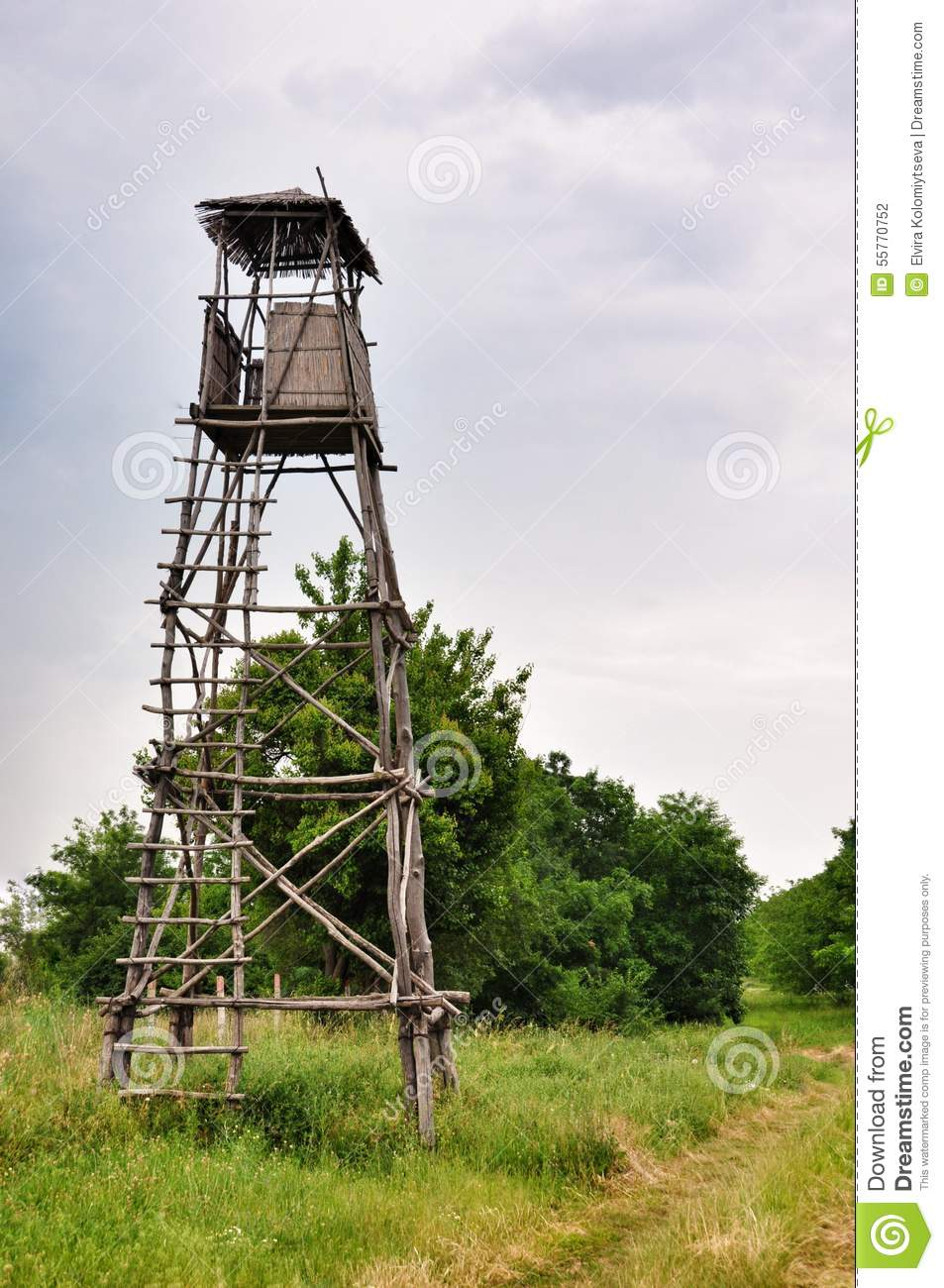Wooden observation post in the forest stock image for Observation tower house plans