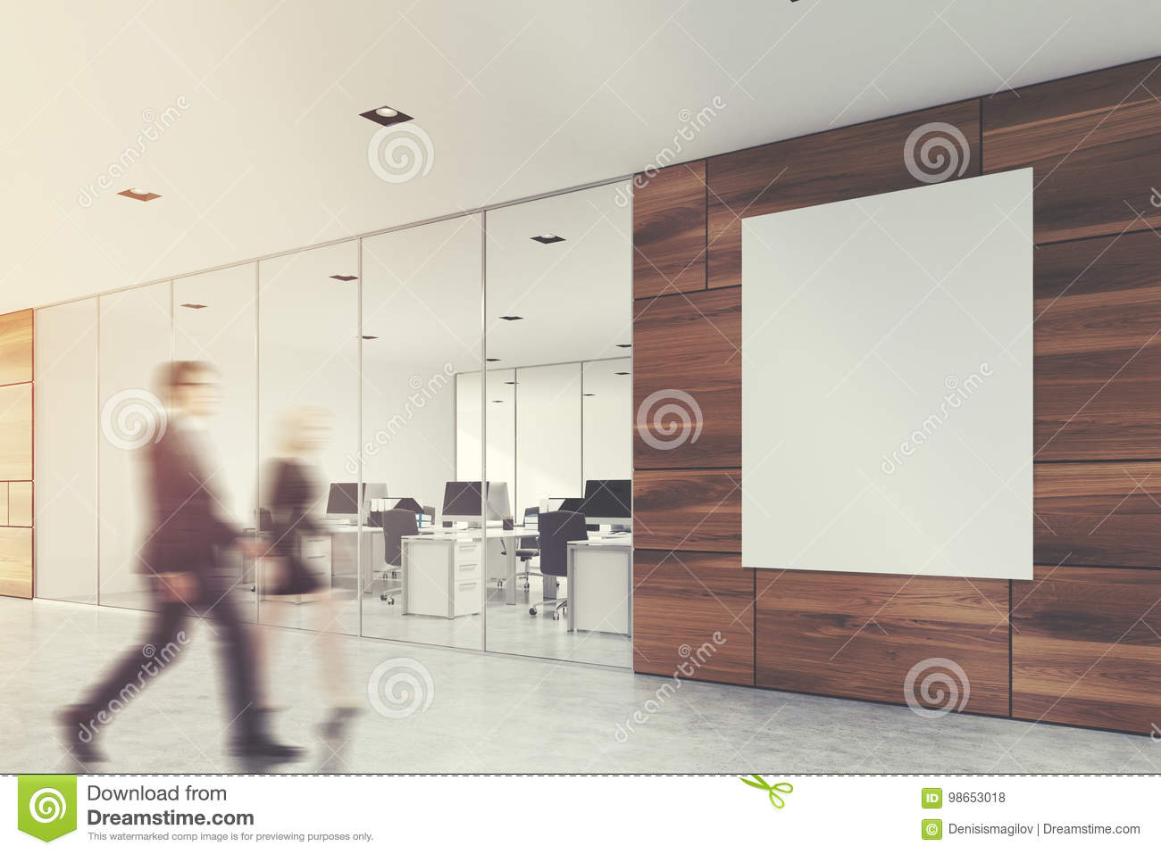 Wooden office lobby with a poster, people