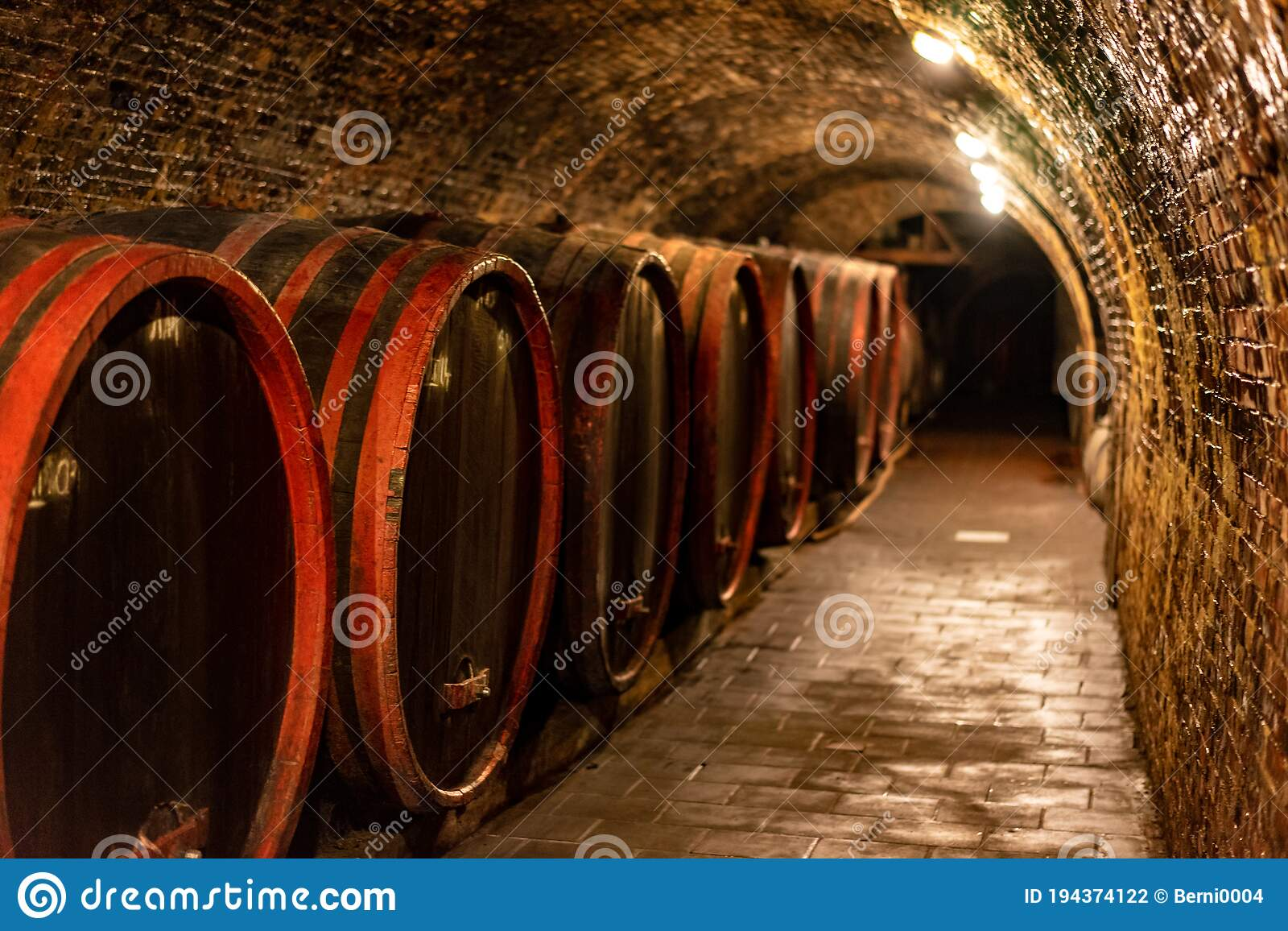Wooden Old Barrels In The Rustic Wine Cellar With Brick Walls In Villany Hungary Stock Photo Image Of Tasting Rustic 194374122