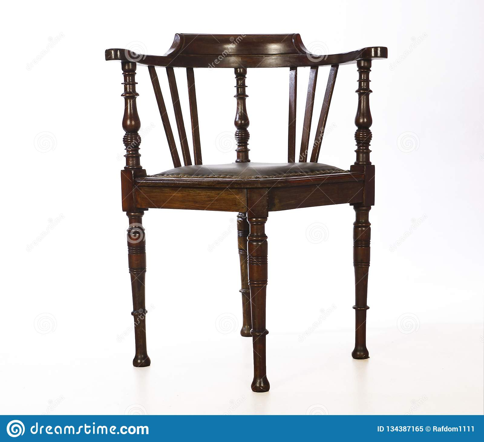 Wooden Old Fashioned Corner Chair Isolated Stock Image Image Of