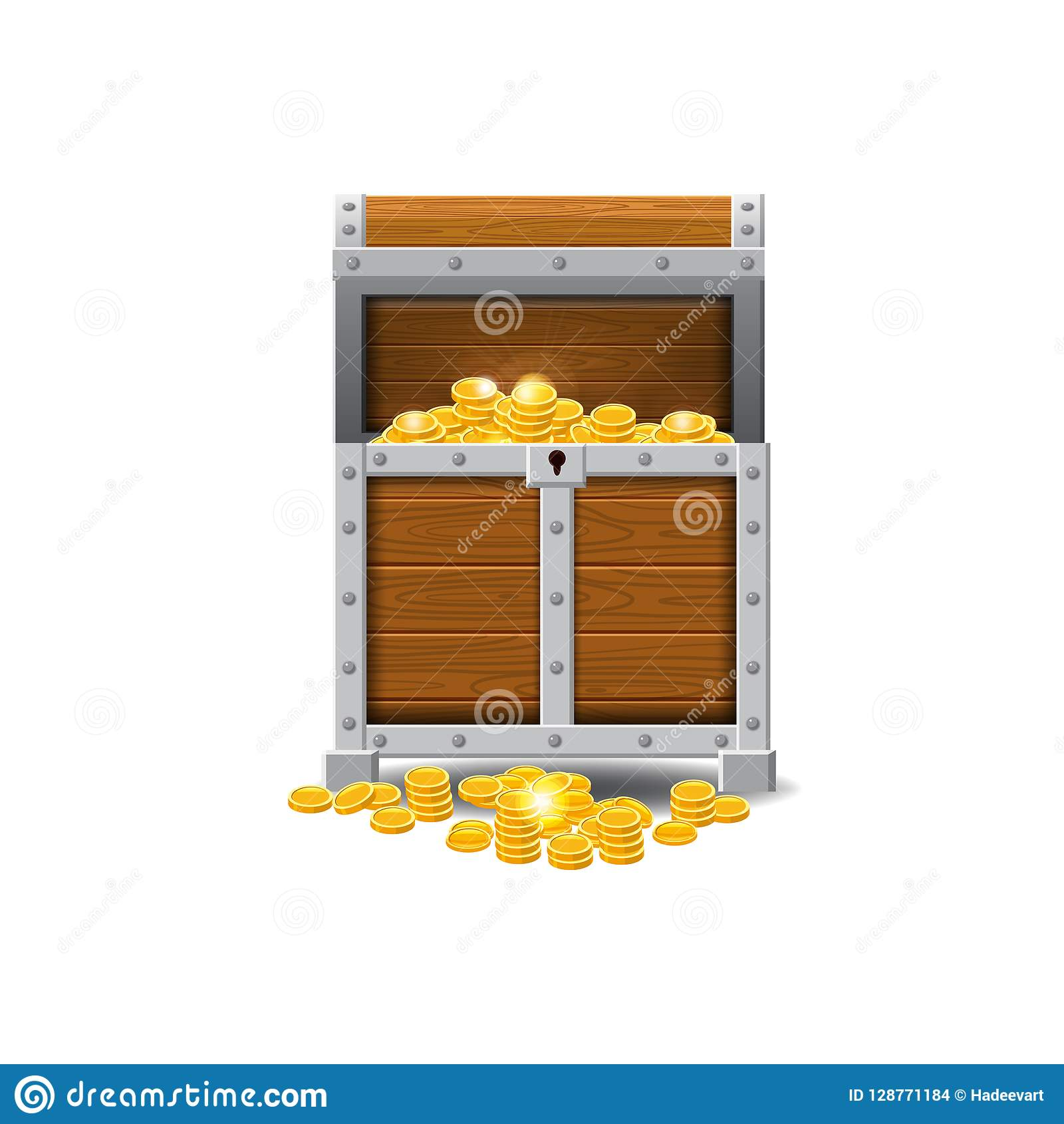 Wooden old pirate chests, full of treasures, gold coins, treasures, vector, cartoon style, illustration, isolated. For