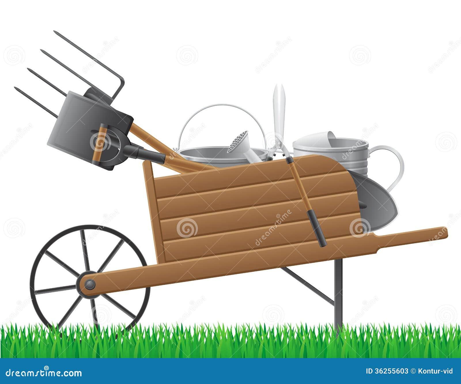 Wooden Old Retro Garden Wheelbarrow With Tool Vect Stock Vector ...