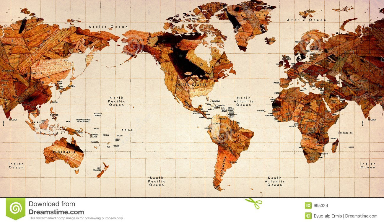 Wooden Old World Map stock photo. Image of internet, concept - 995324