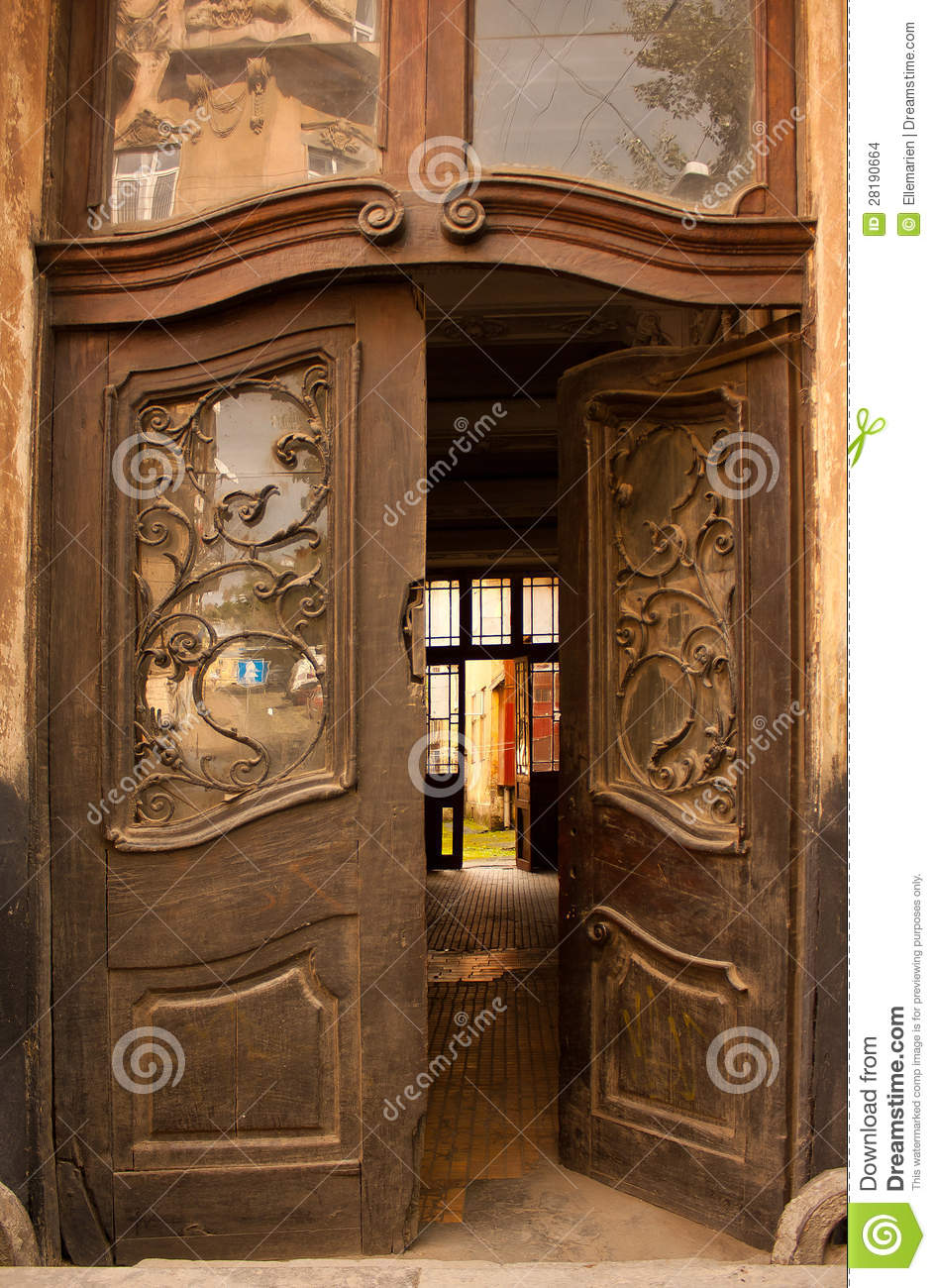 Wooden Open Pattern And Old Door Stock Images Image