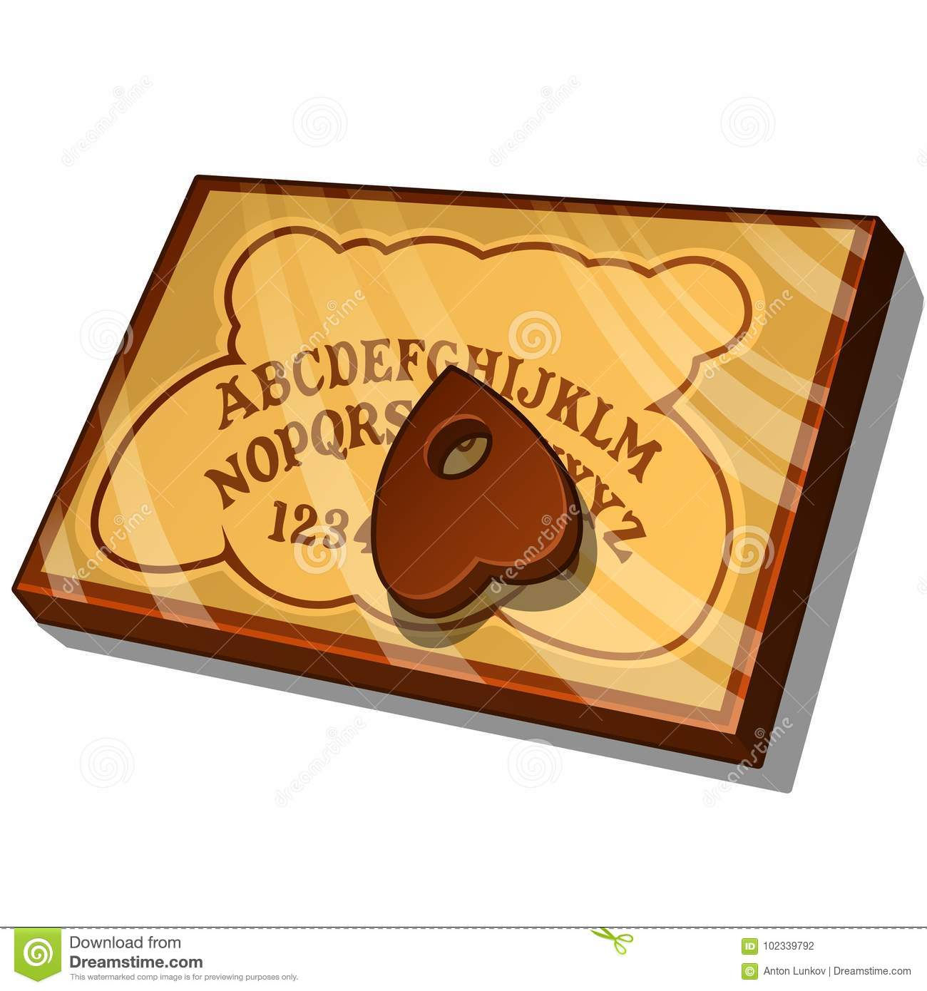 Wooden Ouija Board with English letters. Vector illustration in cartoon style isolated on white