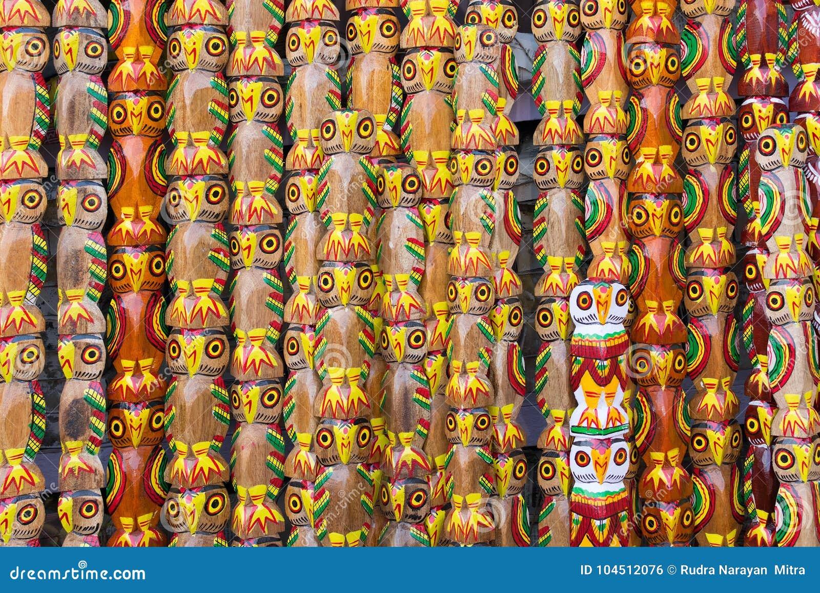 Wooden Owls Indian Handicrafts Fair At Kolkata Stock Photo Image
