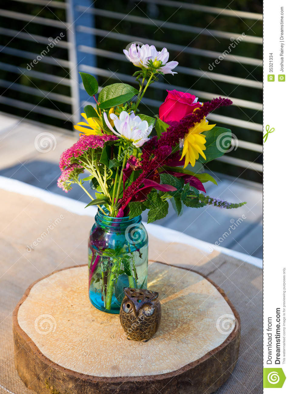 Wooden Owls And Flowers Stock Photo Image Of Centerpieces 35321334