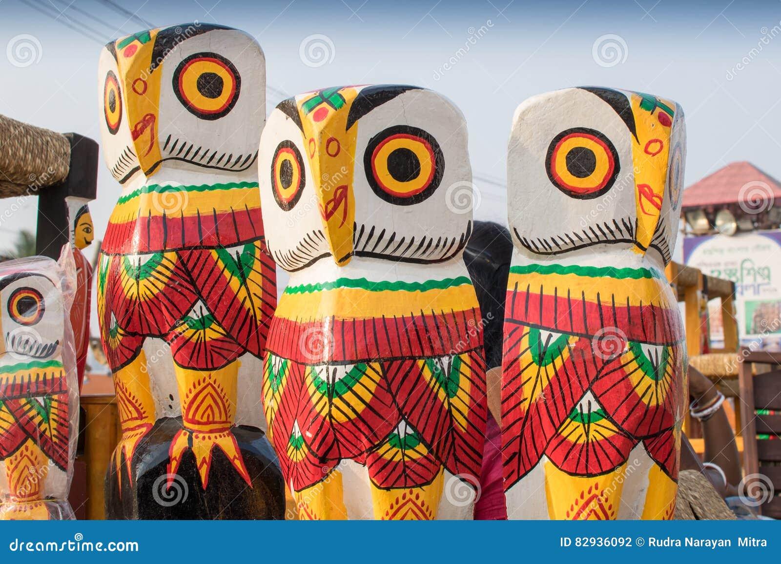 Wooden Owls Handicraft Items On Display Kolkata Editorial
