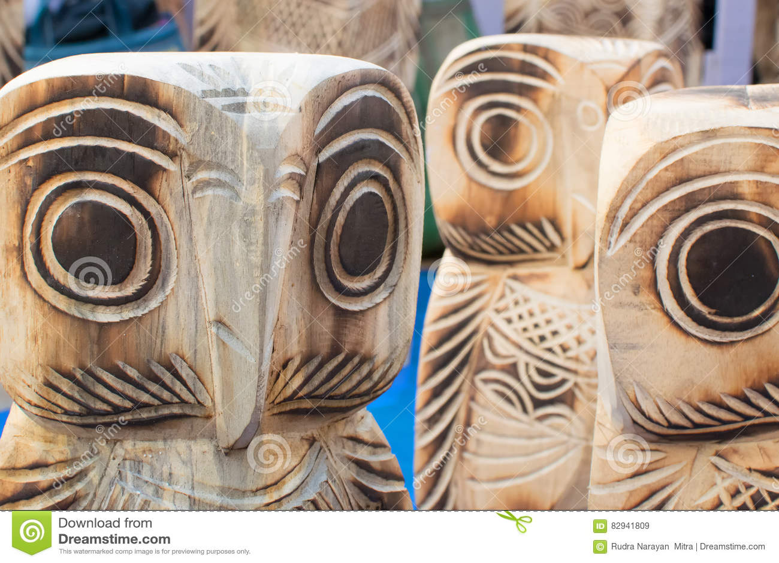 Wooden Owls Handicraft Items On Display Kolkata Stock Image