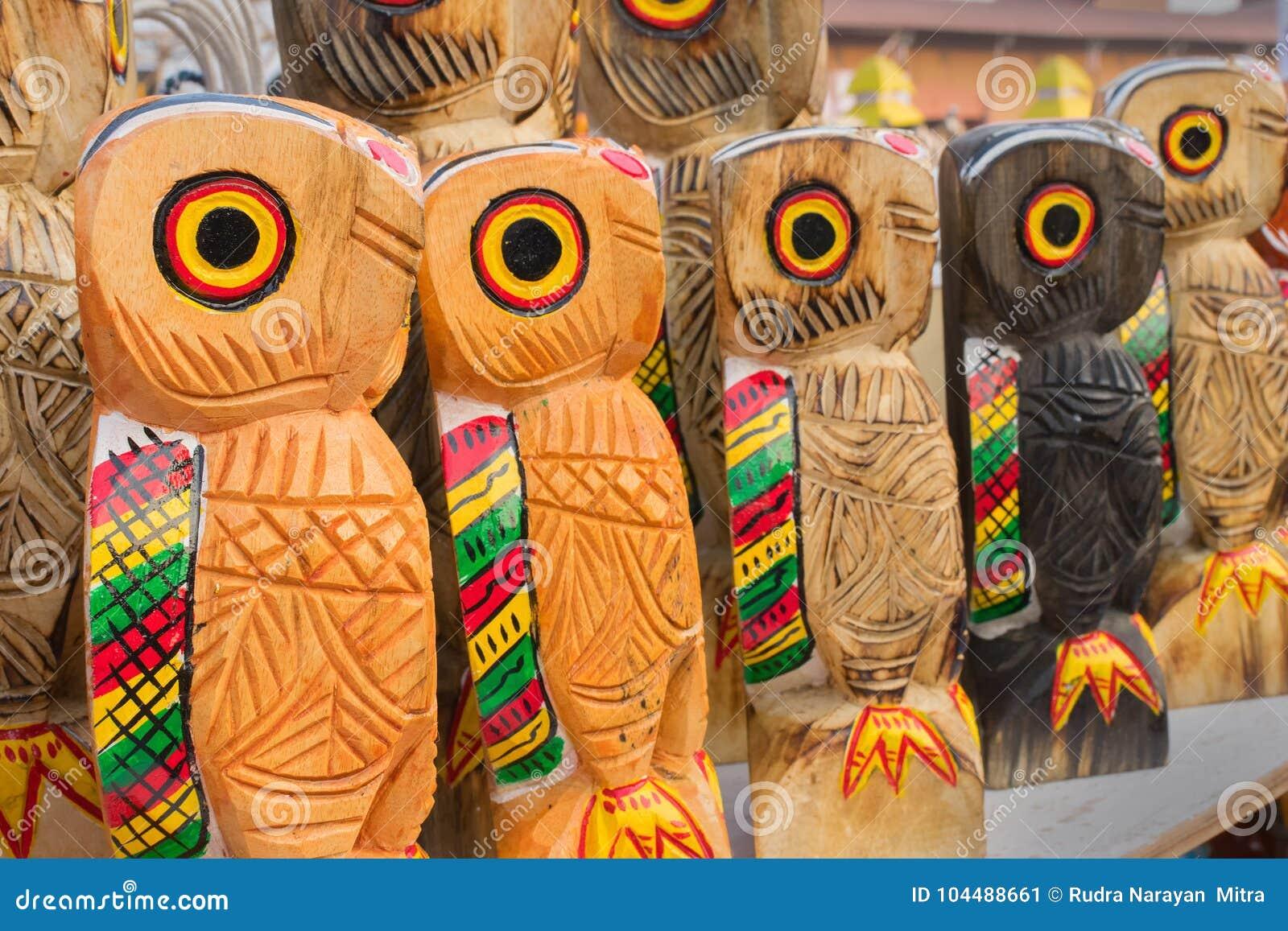 Wooden Owls Indian Handicrafts Fair At Kolkata Stock Image Image