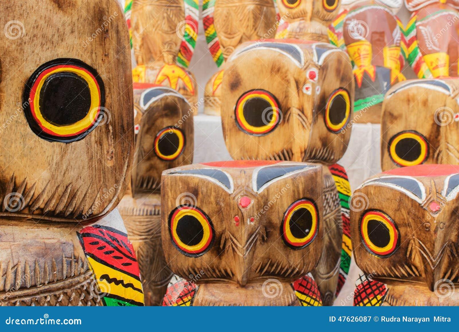 Wooden Owls Indian Handicrafts Fair At Kolkata Editorial Image