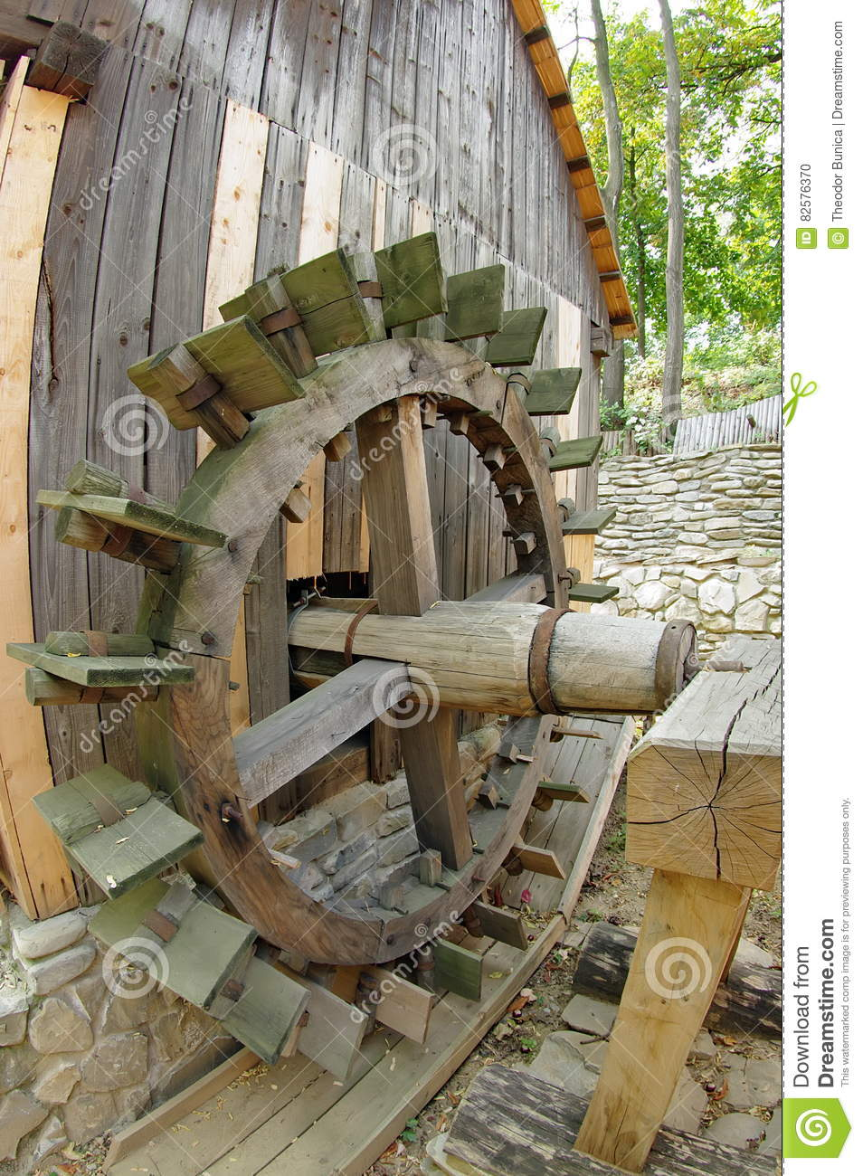 Water Mill Traditional Wooden Paddle Wheel Romania