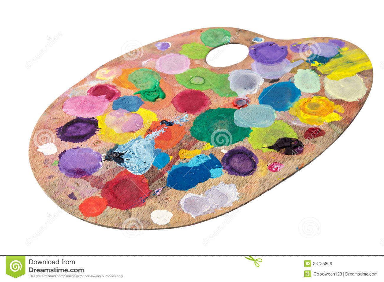 Wooden palette with spots of paint gouache stock photo image 26725806 for Peindre palette