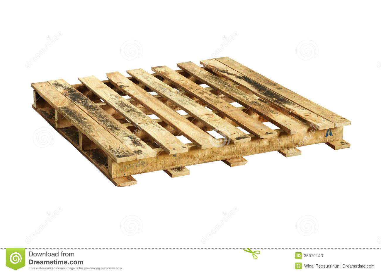 Wooden pallet (with clipping path) isolated on white background