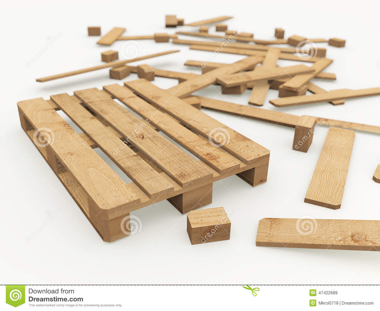 Wooden Pallet And Its Construction Boards Stock Illustration