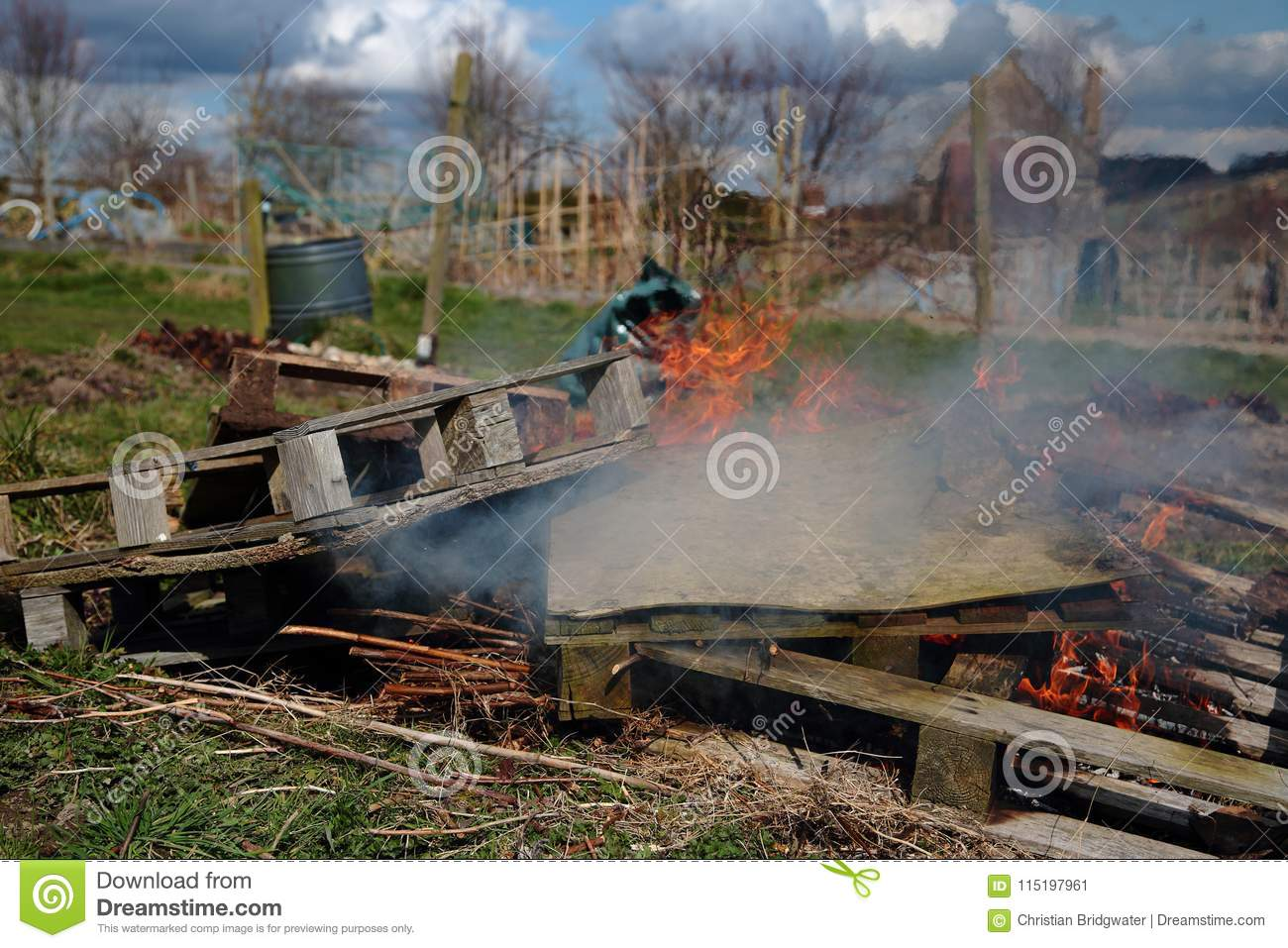 Wooden Pallets And General Rubbish Being Burned Stock Image Image