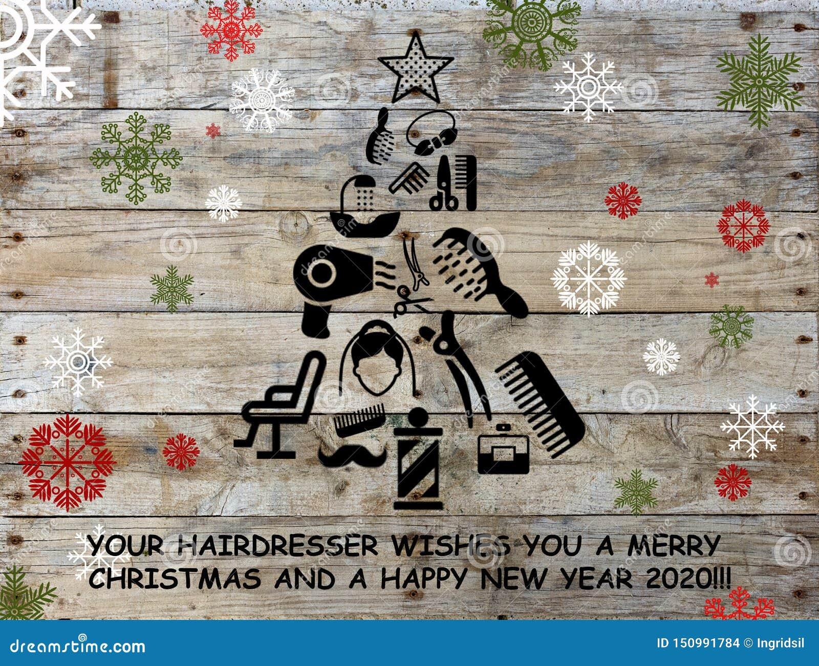 Va Christmas Wallpaper 2020 Wooden Panel For Background. Hair Dresser Greetings Card. Stock