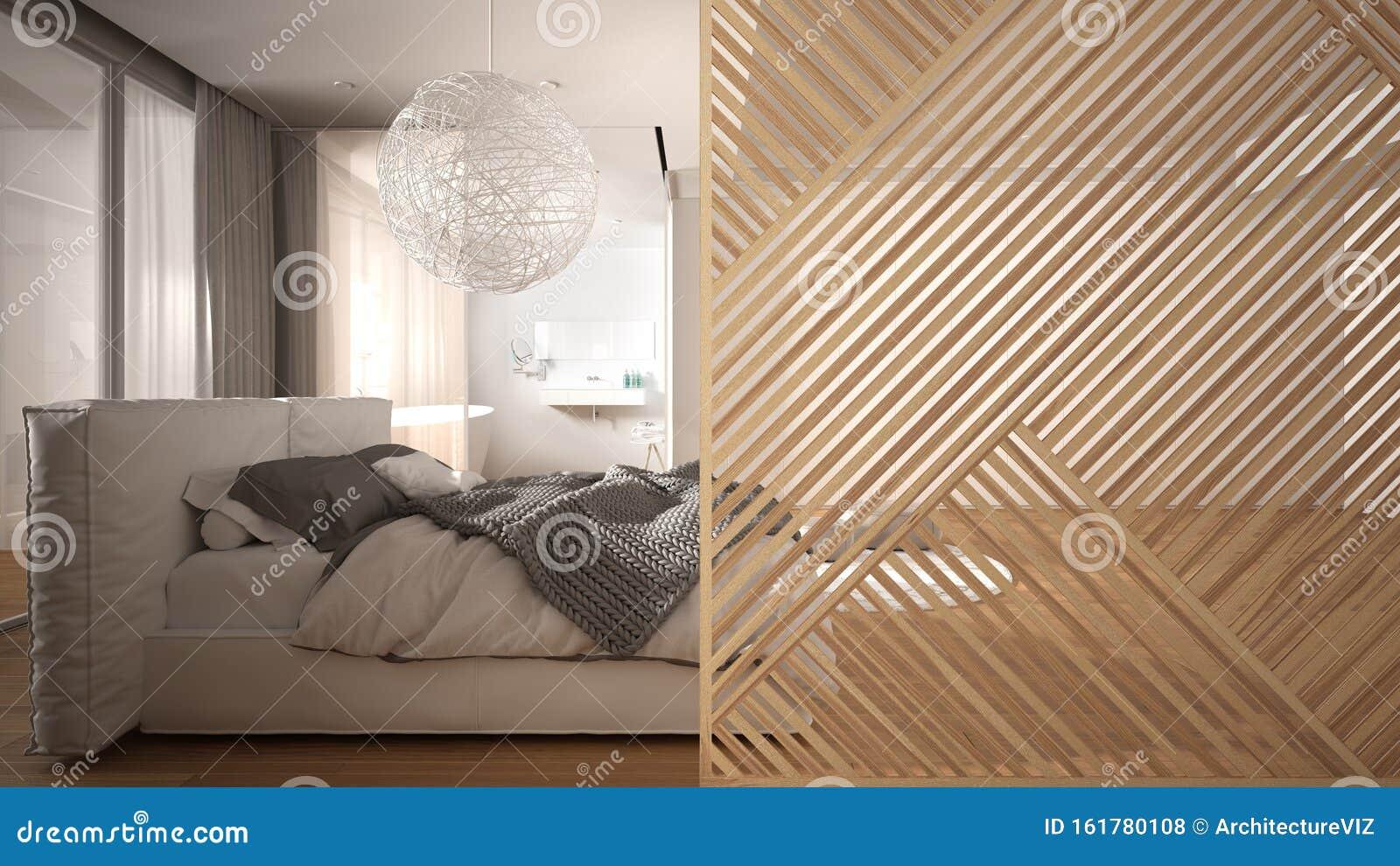 Wooden Panel Close Up Modern Bedroom With Bathroom Parquet Floor