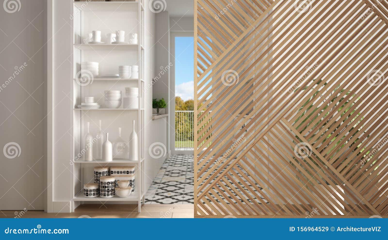 Wooden Panel Close Up Modern Kitchen With Big Window Parquet Floor Minimalist Zen Interior Design Concept Idea Contemporary Stock Image Image Of Apartment Panel 156964529
