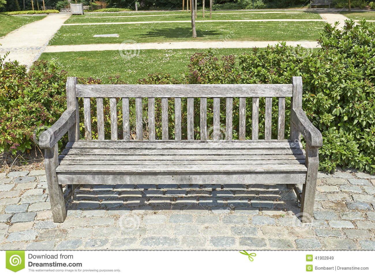 Wooden Park Bench In The Garden Stock Photo Image 41902849