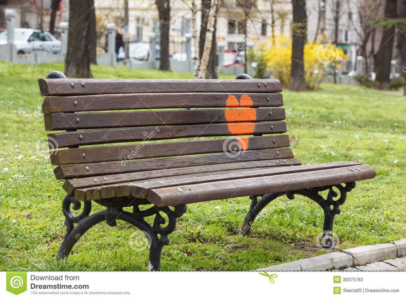 Wooden Park Bench At A Park With Red Heart Painted On It Stock Photos . Full resolution  snapshot, nominally Width 1300 Height 957 pixels, snapshot with #9D9C2E.