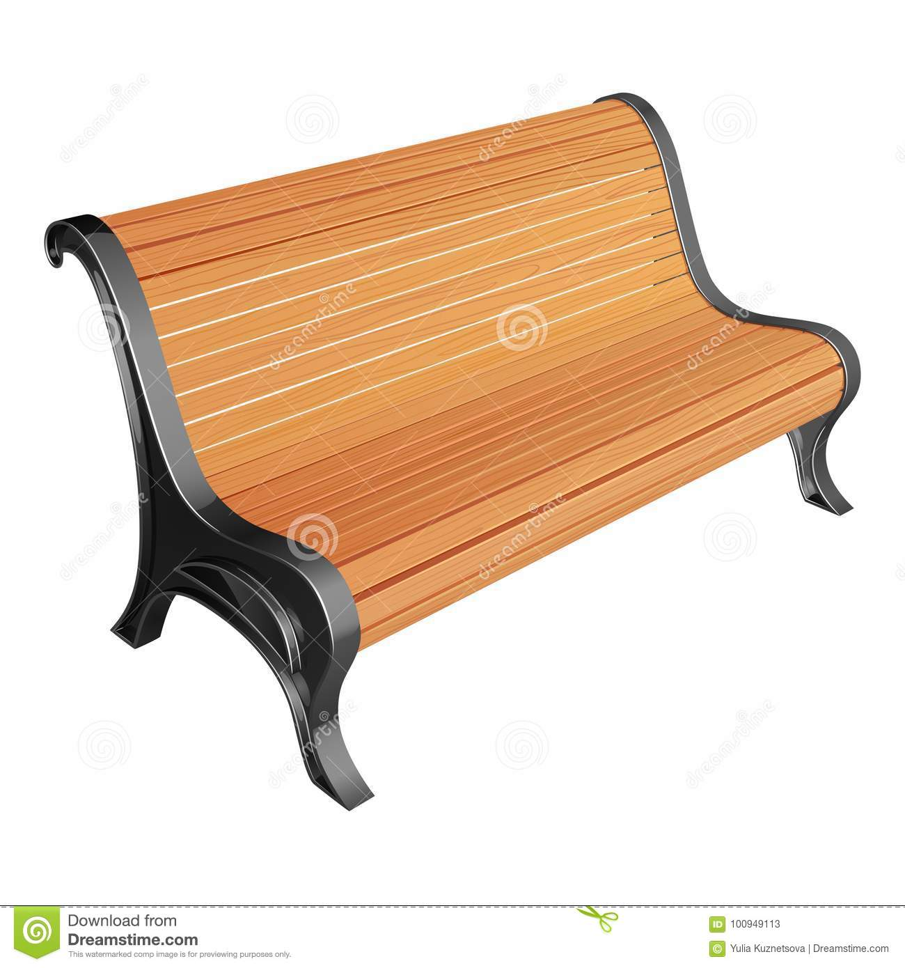 Wooden Park Bench Of Unpainted Racks On Metal Supports With A