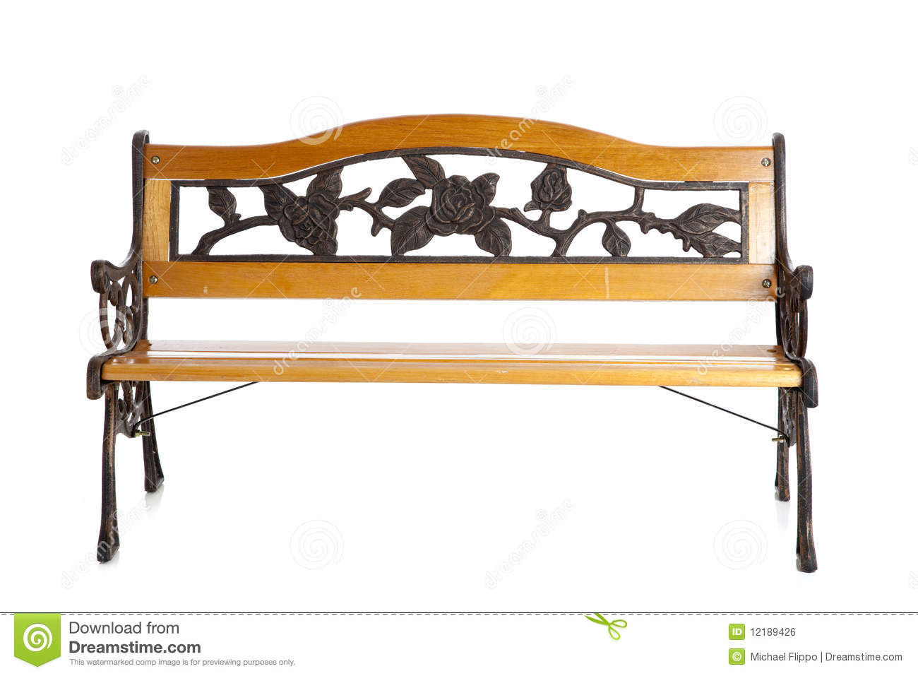 Wooden Park Bench On White Stock Photo. Image Of Outdoor