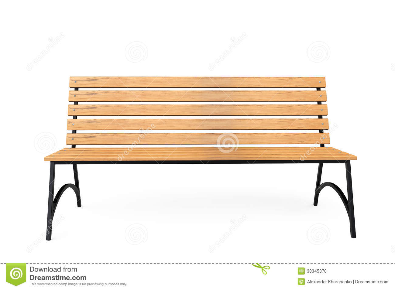 Wooden Park Bench Stock Photo Image Of Design Chair 38345370