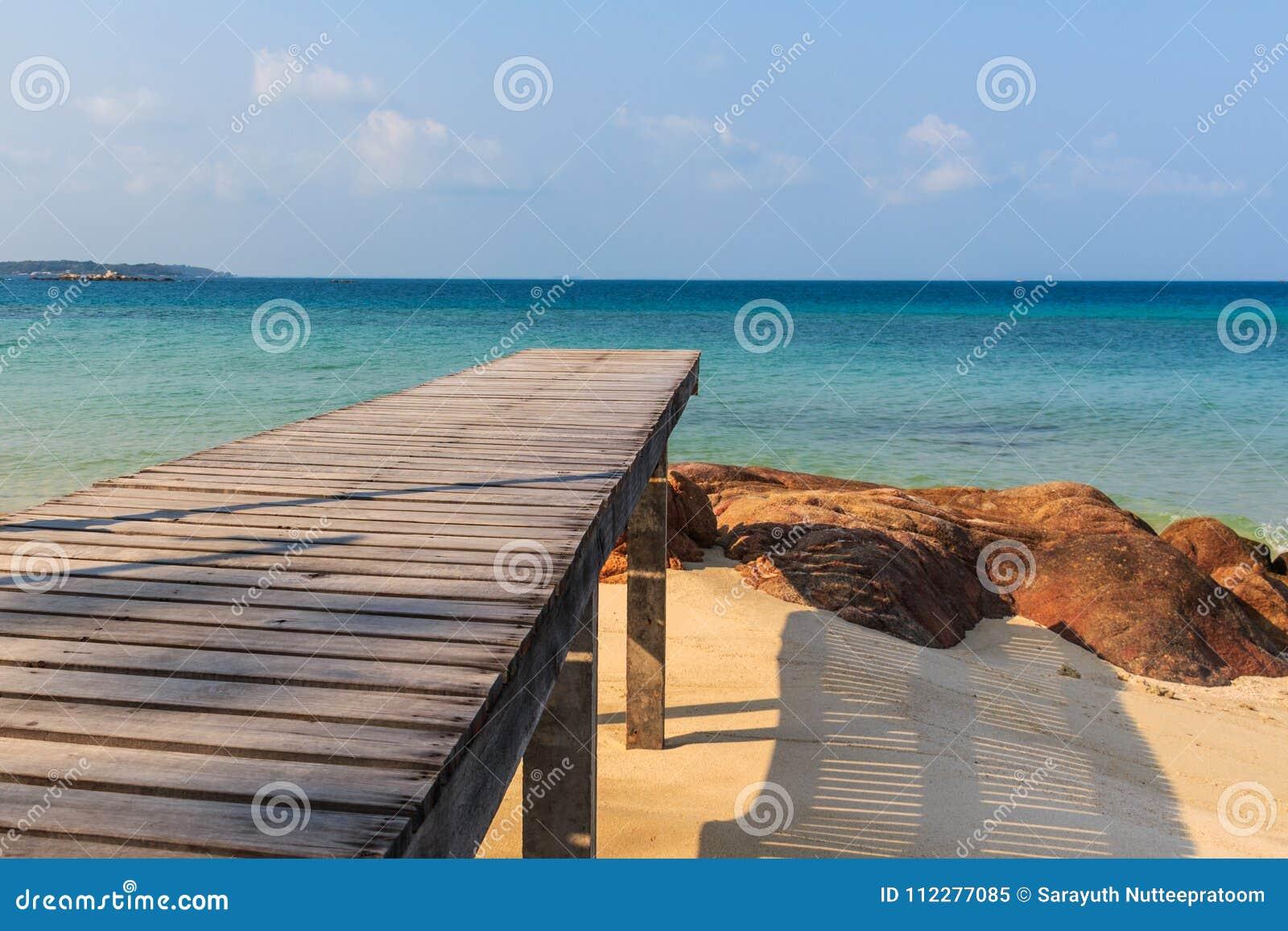Wooden pathway at Mun Nork Island, Rayong Thailand