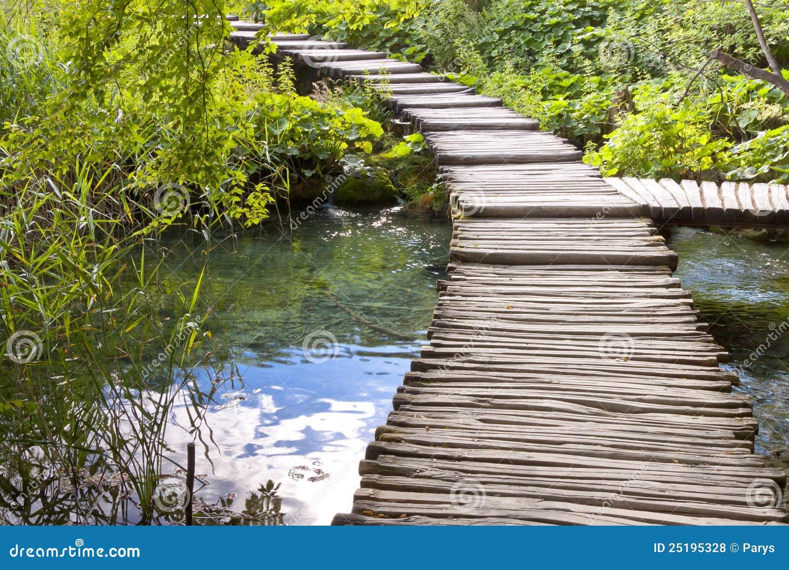 wooden pathway plitvice lakes croatia royalty free