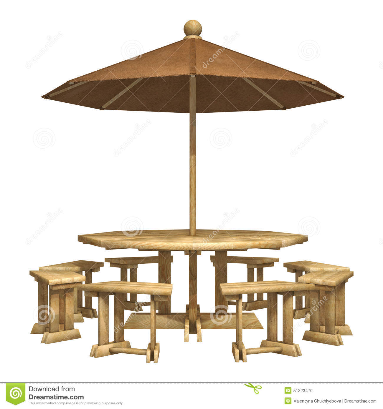 Wooden Patio Furniture Stock Illustration Illustration Of